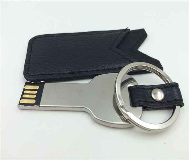 Key shape Metal USB with leather cover keychain U321