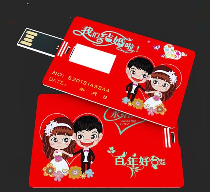 Customize Wedding Gift Credit card shape USB flash drive with your photo or Invitation card U702W