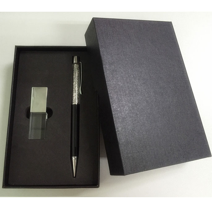 Crystal USB Pen Drive with Black Box for Promotional Gift Set U1415